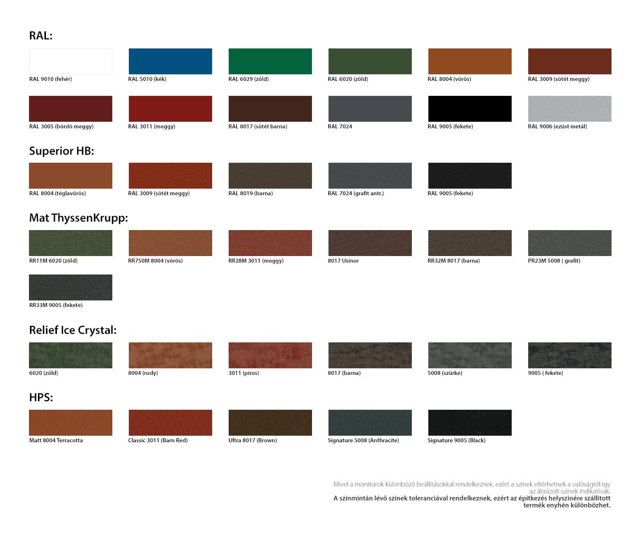 Trapézlemez színek